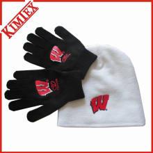 Вязаный теплый комплект шляп и перчаток