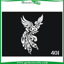 Venda por atacado estêncis do tatuagem de Phoenix projeto purpurina