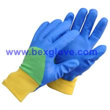 Forro de algodón, revestimiento de nitrilo, acabado rugoso guantes de seguridad