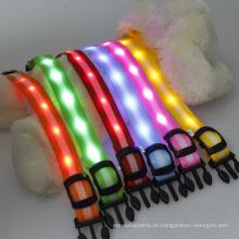 O nylon listrado de 2.5cm conduziu colares claros do animal de estimação / chicote de fios do cão