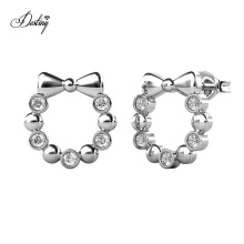 Hypoallergenic Brass Jewelry Cute Ribbon Bow Round Circlet Stud Earrings Jewelry for Girls
