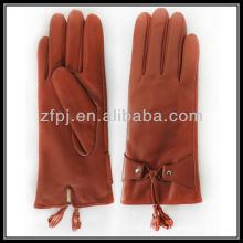 Luvas de couro senhoras com franjas vermelhas