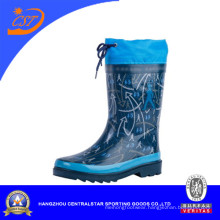 Hot Fashion Blue Rubber Rain Boots with Collar 66952