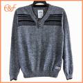 Latest Design Pullover Black Gray V Neck Sweater
