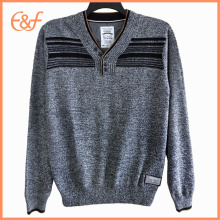 Latest Design Pullover Black Gray V Neck Sweater