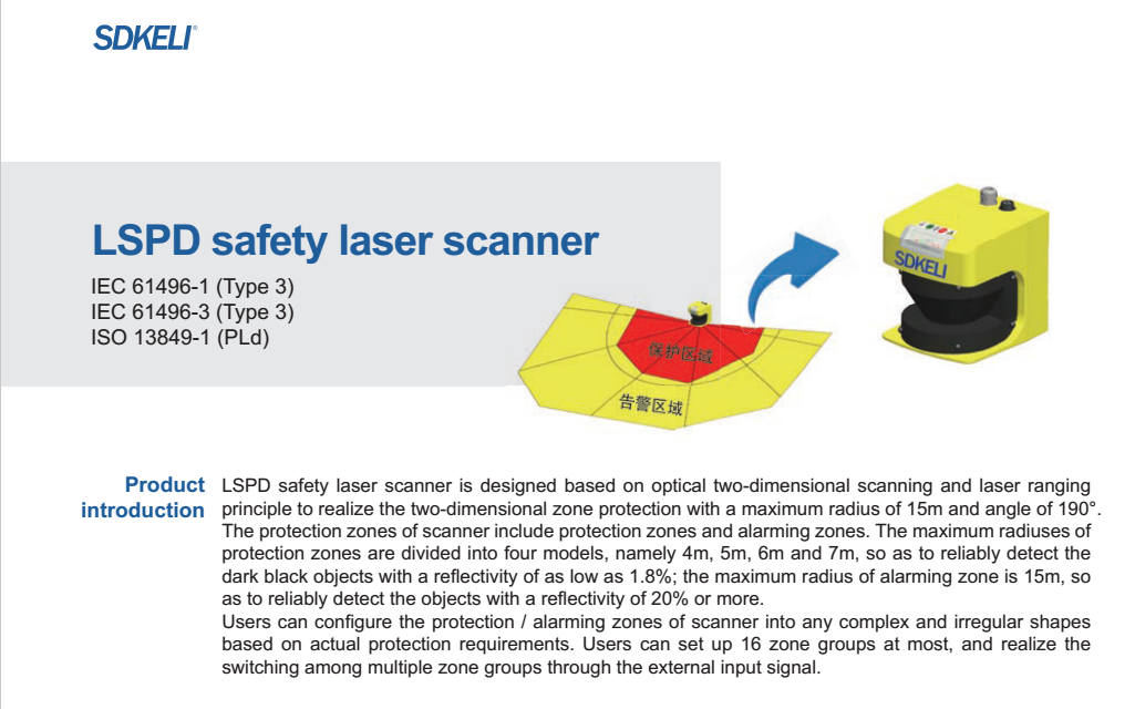 SDKELI safety laser scanner