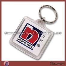 Handsome transparent rectangular polished promotion acrylic/plexiglass keychain/key ring/key holder