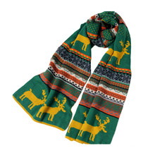Womens Multiple Style Neck Warmer Thick Deer Snow Printing Winter Knitted Scarf (SK129)