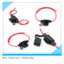 Waterproof Auto Car Fuse Holder Blade Inline with Red 14AWG Wire Harness and Cover