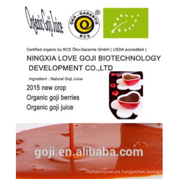 jugo orgánico de goji