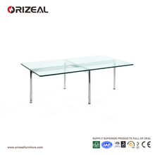 Orizeal Glass Rectangle Coffee Table with Metal Legs (OZ-OTB004)