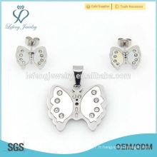 Bijoux fines en forme de papillon en acier inoxydable, mémoire en argent plat