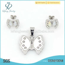 Fine stainless steel butterfly shape jewelry,memory plain silver sets engagements china factory price