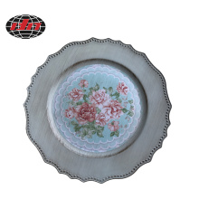 Rose Design Printing Plastic Charger Plate