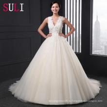 Сл-007 заказ a-линии V-образным вырезом тюль из бисера Алибаба свадебное платье 2016