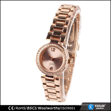 Bisel de diamante reloj de ginebra reloj de oro rosa de ginebra