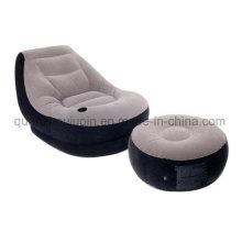 Sofa gonflable de suède à la maison d'OEM PVC avec le repose-pieds