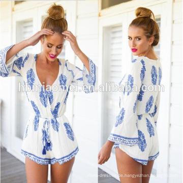 Chinesische Hersteller Damen Sommer Tiefem V-Ausschnitt Mini Kleidung Frau Kurzes Kleid