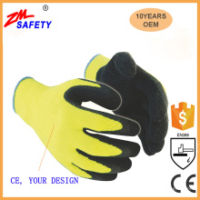 Warm acrylic winter liner yellow latex coated waterproof non slip winter work gloves/acrylic latex coating winter gloves