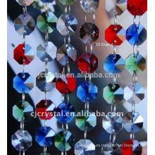 Granos de cristal mezclados del octágono de los colores al por mayor, granos cristalinos del octógono