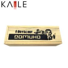 Mini Domino Ivoire en bois avec des points noirs