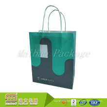 Custom Color Printed Twisted Handles Restaurant Takeaway Carrier Fast Food Kraft Paper Bag With Logos