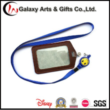 Retractable Badge Polyester Lanyards with Leather Card Holder