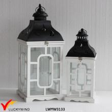Weiße rustikale Dekoration Antike Vintage Handgemachte Tisch Hochzeit Hölzerne Laterne