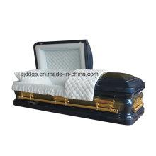 Caixão azul com escova de ouro