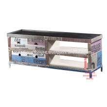 Industrial recycled metal 4 drawer long tv cabinet