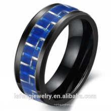 Top venda jóias estilo europeu e americano, anel dos amantes, anel de cerâmica de fibra de carbono azul