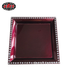 Dark Red Plastic Charger Plate With Manmade Crystal