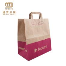Großhandelskundenspezifisches Logo-Druck-Lebensmittelgeschäft-Schnellimbiß nehmen Brown-Papiertüte Kraftpapier mit flachen Griffen weg