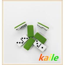 Doble 6 dominós de plástico verde de dos pisos
