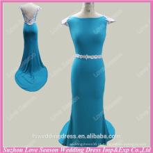 RP0053 Manga de capuz V profundo V back branco e azul bordar vestido de trem de varredura sereia vestidos de baile imagens de amostra real vestidos de baile