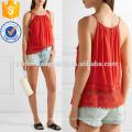 Tasseled Tie Lace-aparado Crepon Camisole Fabricação Atacado Moda Feminina Vestuário (TA4090B)