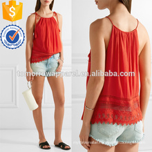 Tasseled Tie Lace-trimmed Crepon Camisole Manufacture Wholesale Fashion Women Apparel (TA4090B)
