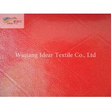 Glitter vermelho gravado PU couro tecido/falso PU couro tecido