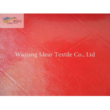 Красный глиттер тиснением PU кожа ткань/искусственная PU кожа ткань