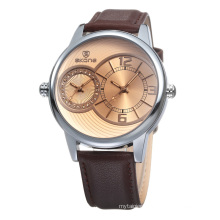 Factory directly sell quartz watch stainless steel back cheap price pu leather watch