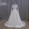 Francés de manga larga de encaje de una línea de Mikado boda vestido 2016