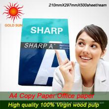 papel de cópia super da polpa de madeira do whitness 100% a4