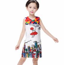 Desgaste Do Partido Da Menina Ocidental Baby Girl Impresso Vestido Crianças Frocks Design One Piece Vestido Da Menina Das Crianças