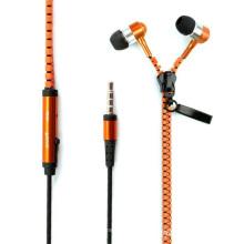 Metal Zipper écouteurs avec microphone pour iPhone