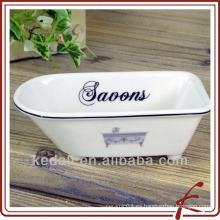 Min titular de jabón de baño de cerámica de forma de bañera