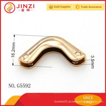 Liso de liga de zinco ouro luz moda metal saco cantos