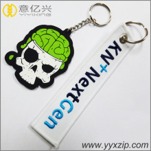 Custom special cartoon silicone and embroidery keychain