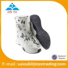 Bottes de neige femme fourrure blanche avec crochet et boucle