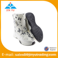 snow boots women white fur with hook and loop