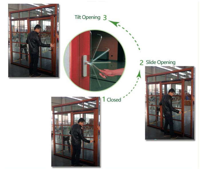 open method of tilt and sliding door